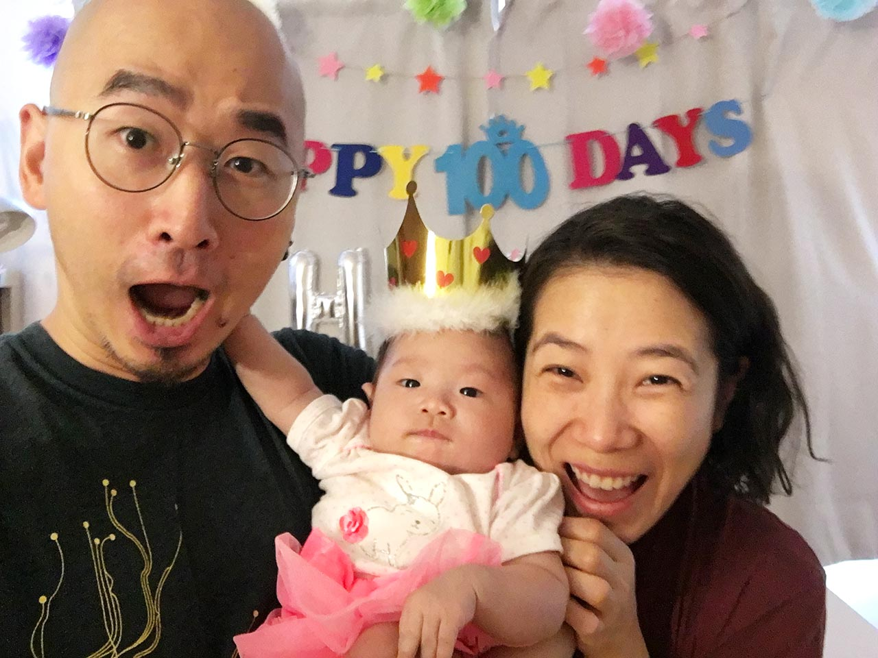 Family of three on 100th day
